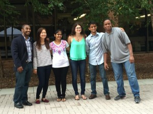 From left to right: Markus Proctor, Shelly Jung, Himadri Patel, Katie Hardy, Maniraj Jeyaraju, and Kameron Fielder. Not pictured: Deloris Abrokwa
